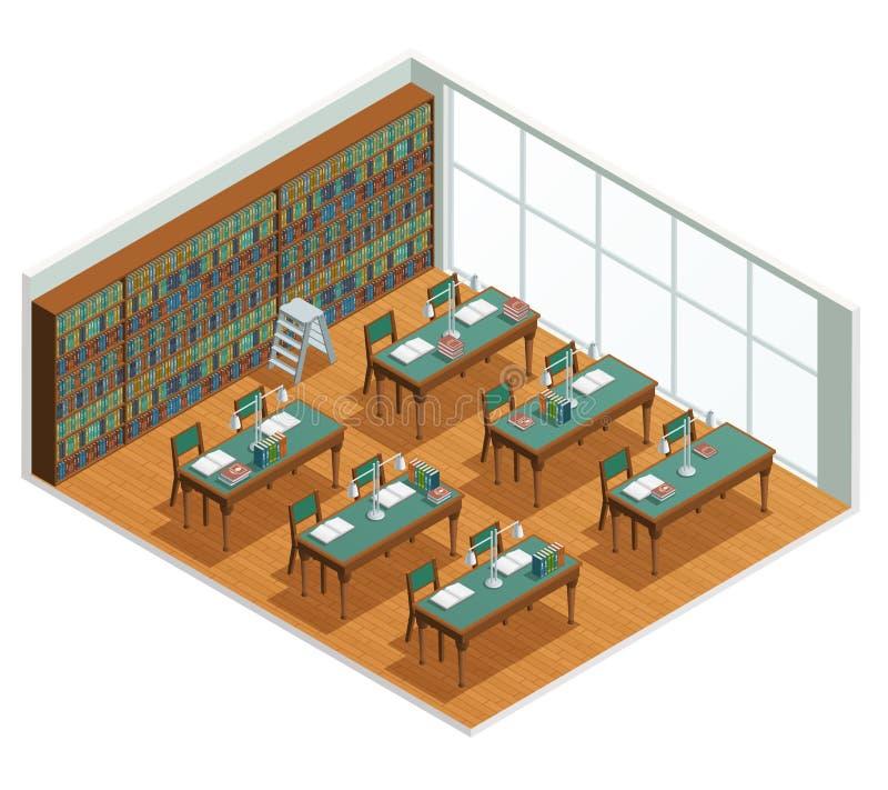 Buchhandlungs-Bibliotheks-isometrischer Innenraum vektor abbildung