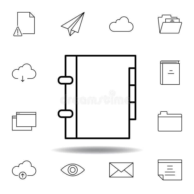 Buchkontaktordnertelefon-Entwurfsikone Ausführlicher Satz unigrid Multimedia-Illustrationsikonen Kann f?r Netz, Logo, Mobile verw stock abbildung