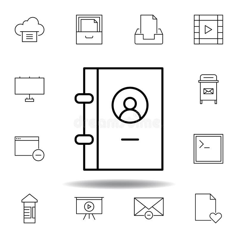 Buchkontakttelefon-Entwurfsikone Ausführlicher Satz unigrid Multimedia-Illustrationsikonen Kann für Netz, Logo, mobiler App, UI v vektor abbildung