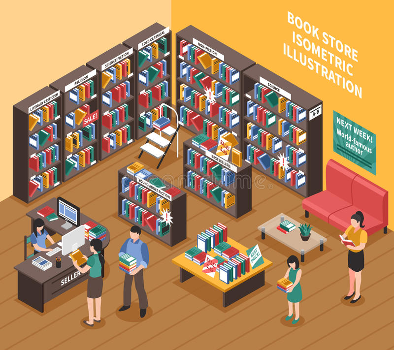 Buchladen-isometrische Illustration stock abbildung