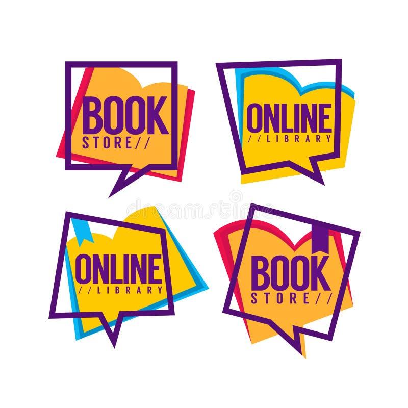 Buchladen und on-line-Bibliothek lizenzfreie abbildung