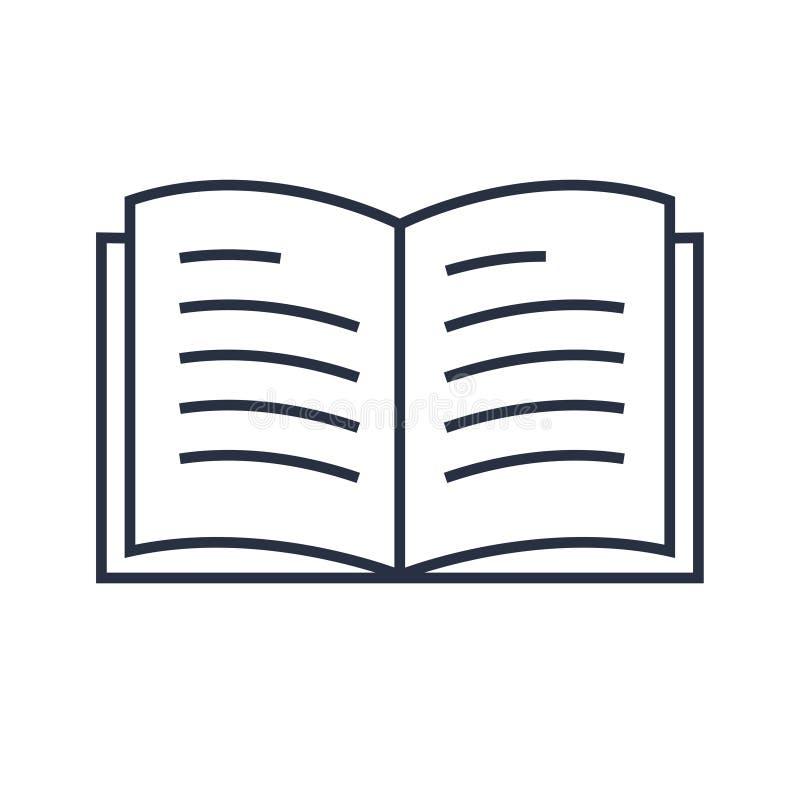 Buchlinie Ikonenvektor Moderne lineare Ikone Minimalistic für Ausbildung Tagebuch, Buchikone, Konzept für das Ablesen vektor abbildung