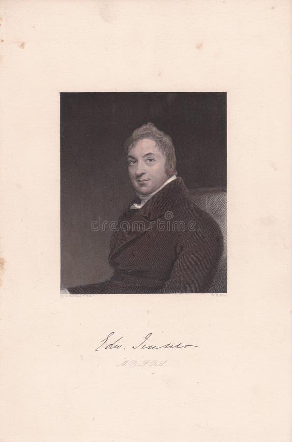 Buchplatte / Druck von Edward Jenner, FRS FRCPE Englischer Arzt stockfotos