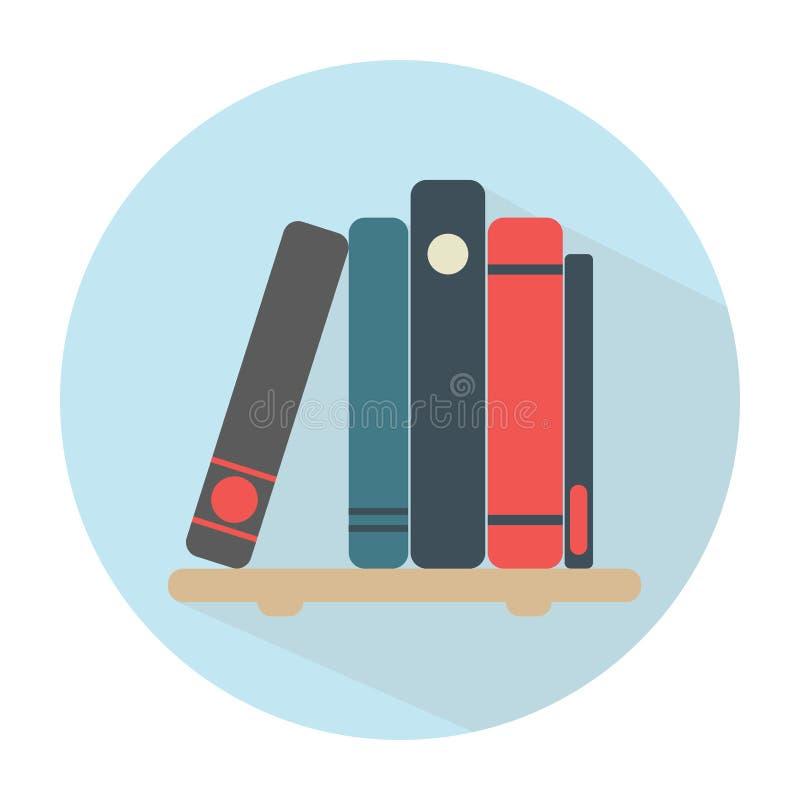 Buchregal mit 5 Büchern Mehrfarbige Abdeckungen lizenzfreie abbildung