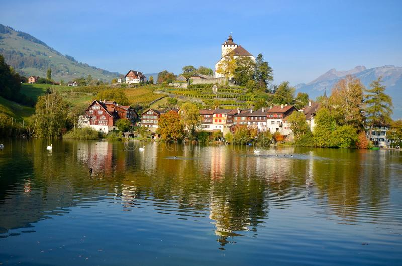 Buchs, Switzerland. The scenic lakeside town of Buchs in Switzerland during autumn/fall royalty free stock photography