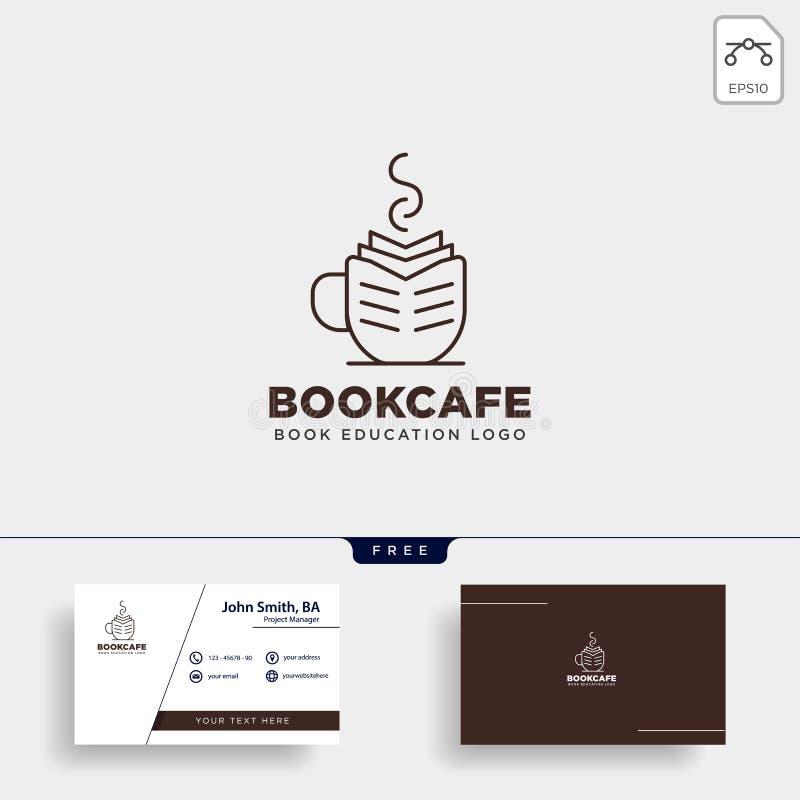 Buchschalencafé-Ausbildungslinie Logoschablonenvektorillustrations-Ikonenelement des Schwarzen einfaches lokalisierte stock abbildung