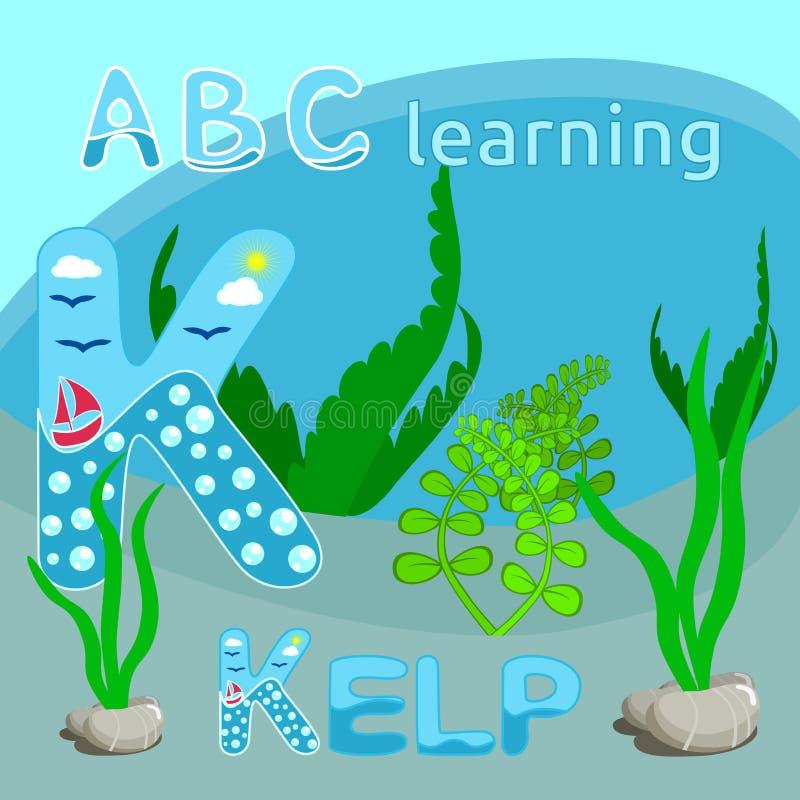 Buchstabe ABC des Seethemaalphabetbuchstabe-Vektors K scherzt lustigen Karikaturmeeresgrund des Kelpvektorillustration Meerespfla vektor abbildung