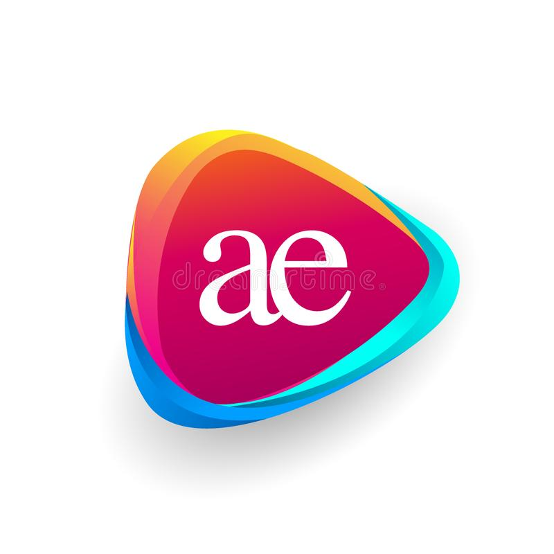 Buchstabe AE-Dreieckform und bunter Hintergrund stockfoto