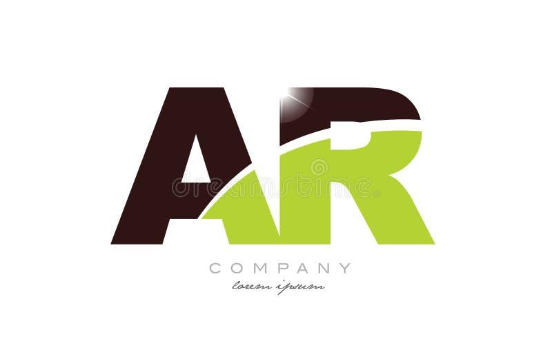 Buchstabe AR eine r-Alphabetkombination in der grünen und braunen Farbe für Logoikonenentwurf stock abbildung