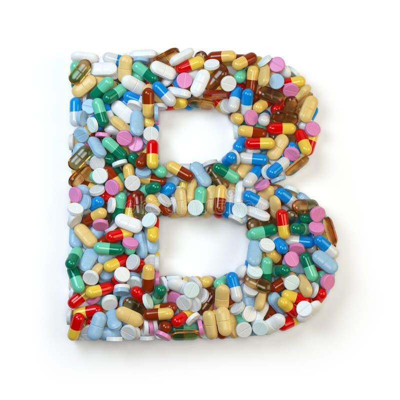 Buchstabe B Satz des Alphabetes der Medizinpillen, Kapseln, Tabletten a vektor abbildung