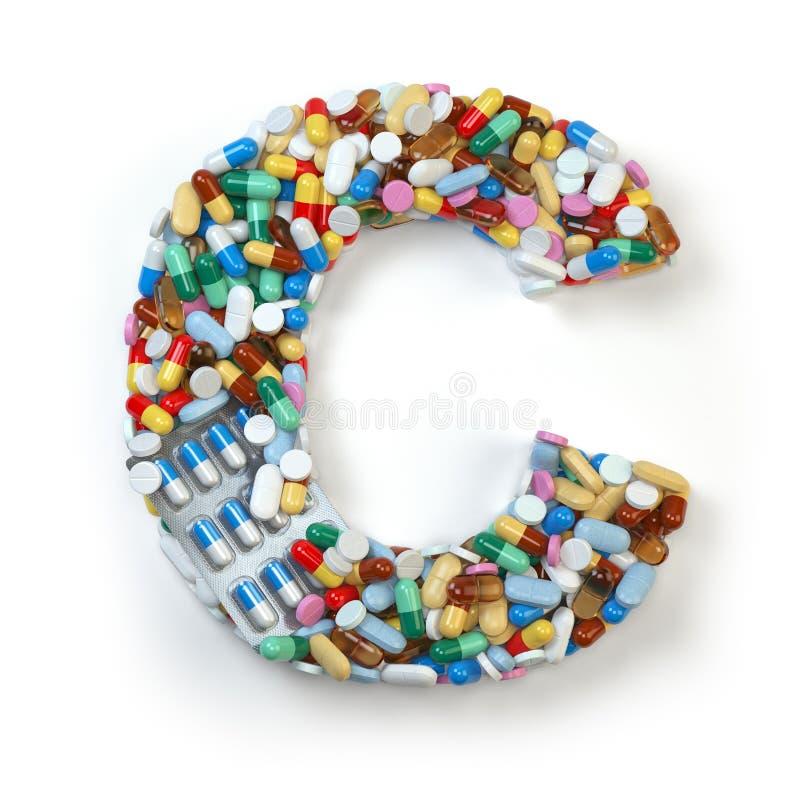 Buchstabe C Satz des Alphabetes der Medizinpillen, Kapseln, Tabletten a stock abbildung