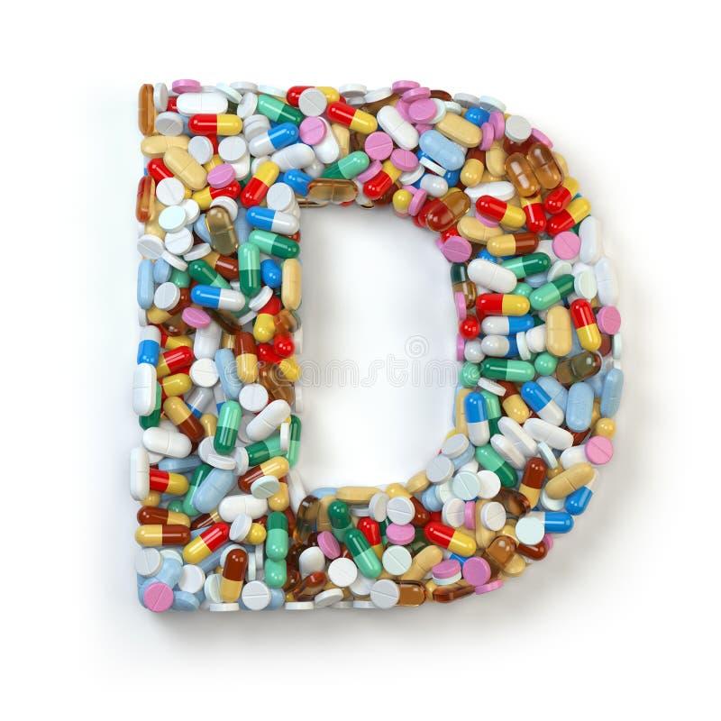 Buchstabe D Satz des Alphabetes der Medizinpillen, Kapseln, Tabletten a vektor abbildung