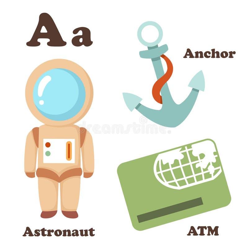 Buchstabe des Alphabetes A Astronaut, ATM, Anker vektor abbildung