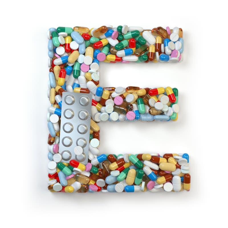 Buchstabe E Satz des Alphabetes der Medizinpillen, Kapseln, Tabletten a vektor abbildung