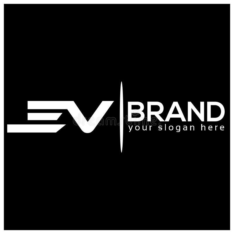 Buchstabe E und V auf weißem Hintergrund Logo hat den schnellen und zuverlässigen Eindruck Logodesignschablone lizenzfreie abbildung