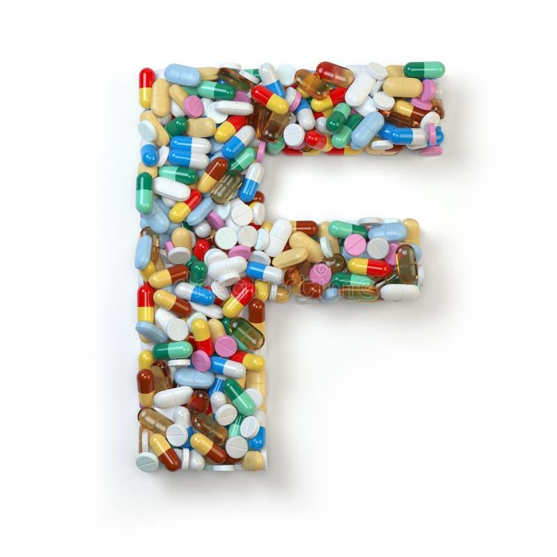 Buchstabe f Satz des Alphabetes der Medizinpillen, Kapseln, Tabletten a vektor abbildung