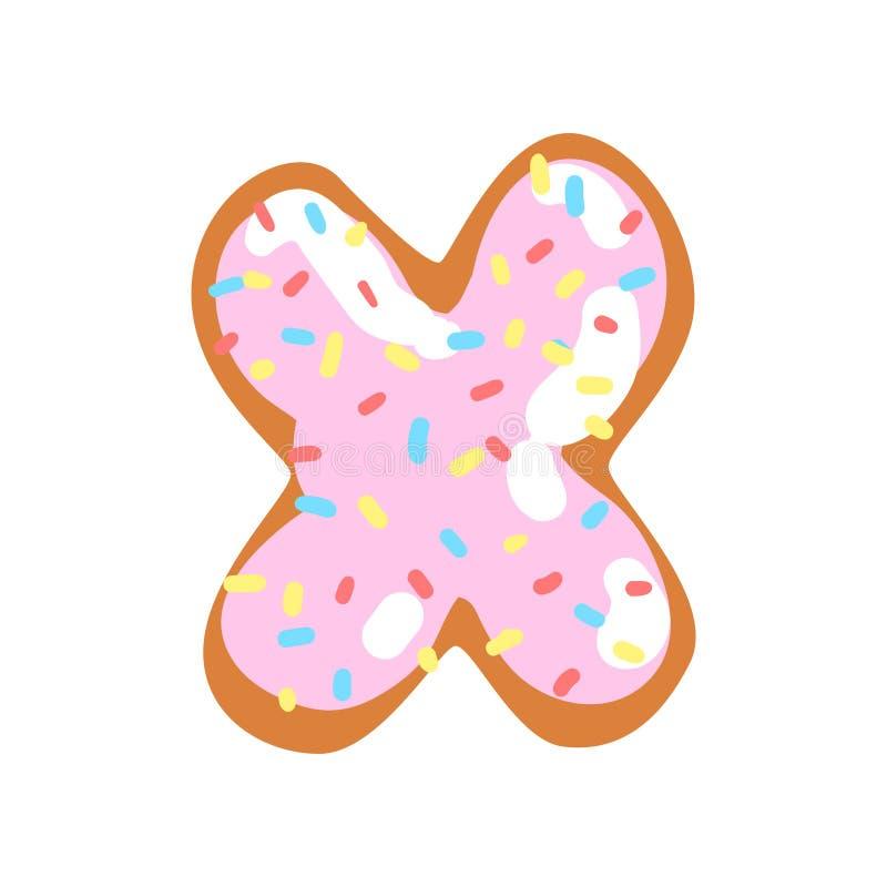 Buchstabe x in Form des Bonbons glasierte Plätzchen, essbaren Guss der Bäckerei von Illustration Vektor des englischen Alphabetes vektor abbildung