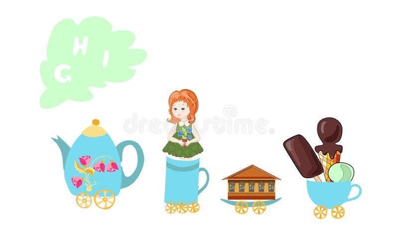 Buchstabe G, H, I Englisches Alphabet der netten Karikatur mit buntem Bild Teekanne und Schalenzug lizenzfreie abbildung