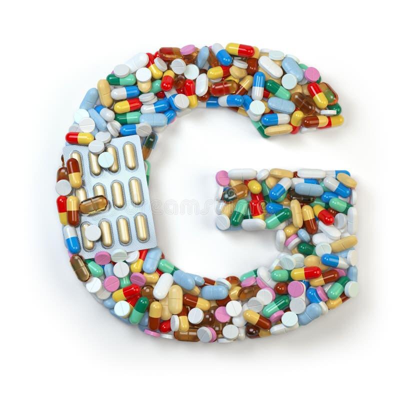 Buchstabe G Satz des Alphabetes der Medizinpillen, Kapseln, Tabletten a lizenzfreie abbildung