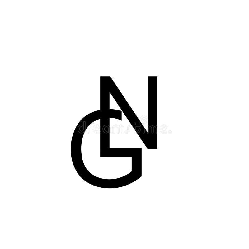 Buchstabe GN-Schwarzfarbe für einbrennendes Buchstabeelement des Firmenentwurfslogos lizenzfreie abbildung
