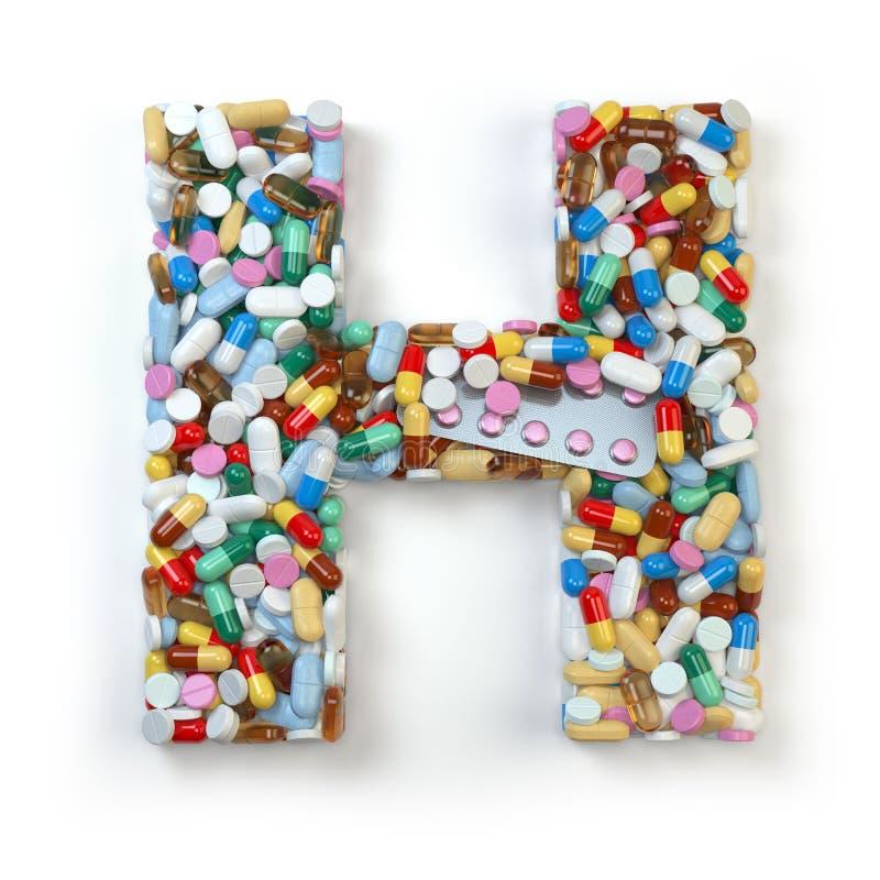 Buchstabe H Satz des Alphabetes der Medizinpillen, Kapseln, Tabletten a vektor abbildung