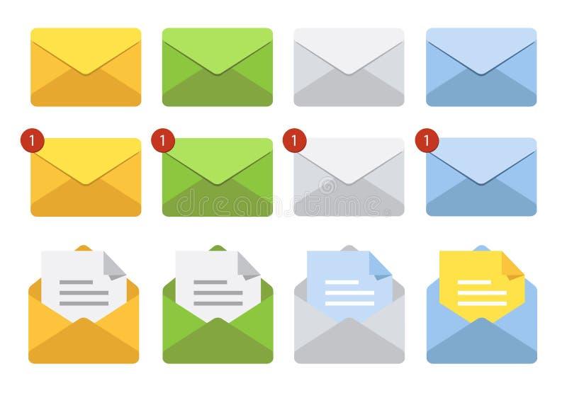 Buchstabe im Postumschlag Set Abbildungen Briefkastenmitteilungs- oder -E-Mail-Ikonen stock abbildung