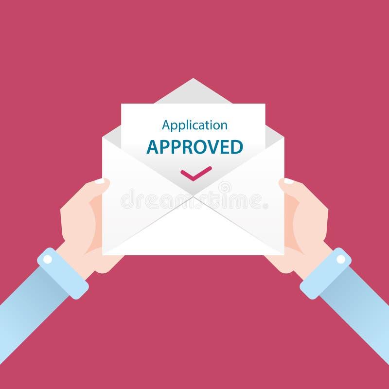 Buchstabe im Umschlag Anwendung genehmigt lizenzfreie abbildung