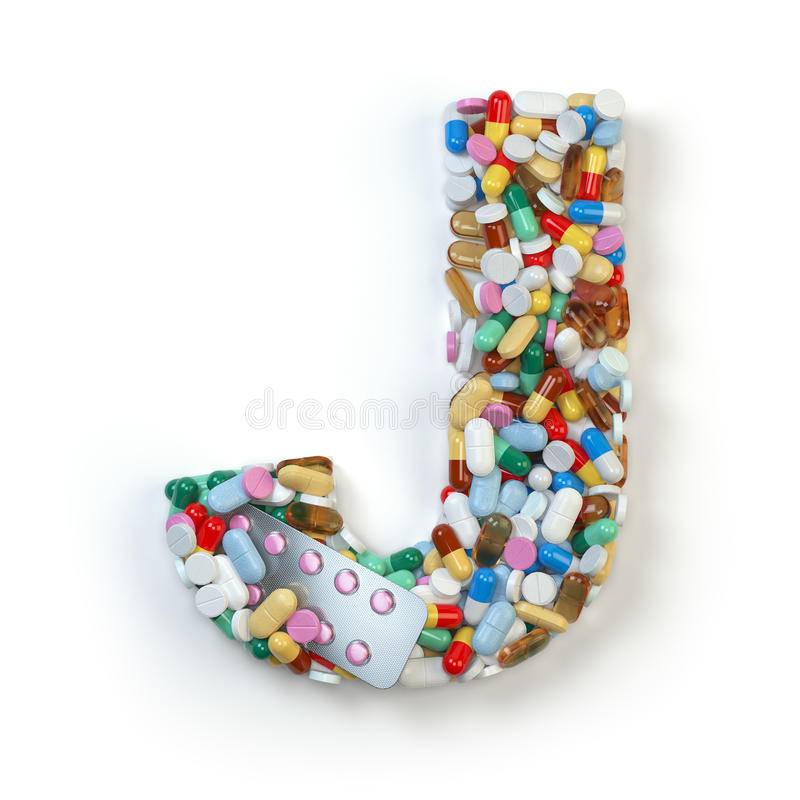 Buchstabe J Satz des Alphabetes der Medizinpillen, Kapseln, Tabletten a stock abbildung