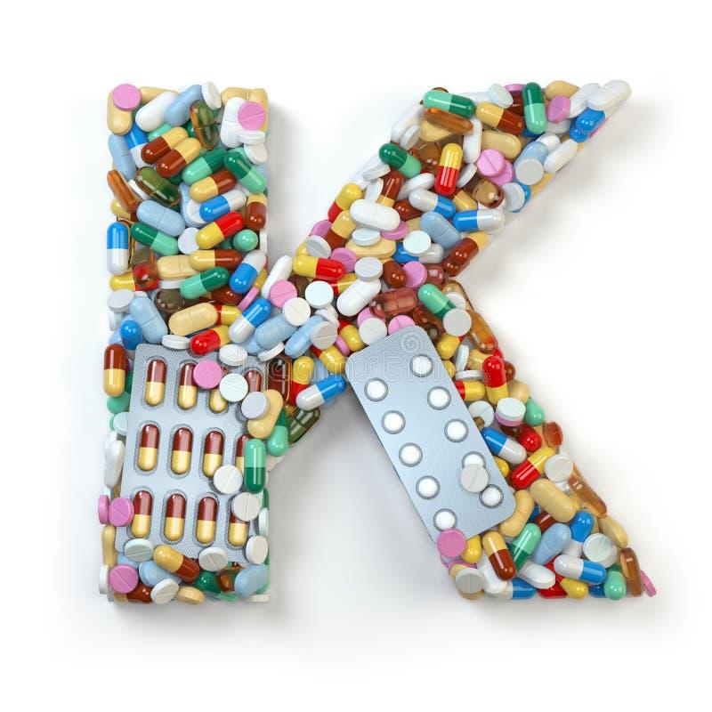 Buchstabe K Satz des Alphabetes der Medizinpillen, Kapseln, Tabletten vektor abbildung