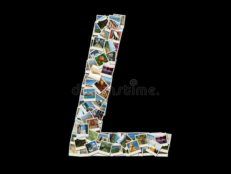 Buchstabe L des lateinischen Alphabetes gemacht wie Collage von Reisefotos stockbilder