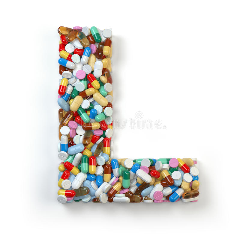 Buchstabe L Satz des Alphabetes der Medizinpillen, Kapseln, Tabletten vektor abbildung