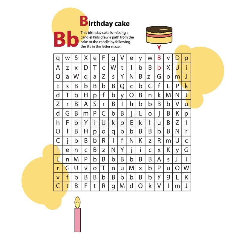 buchstabe labyrinth b dieses arbeitsblatt hilft kindern zu erkennen vektor abbildung bild. Black Bedroom Furniture Sets. Home Design Ideas