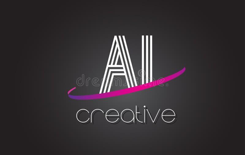 Buchstabe-Logo AI A I mit Linien Design und purpurroter Swoosh vektor abbildung