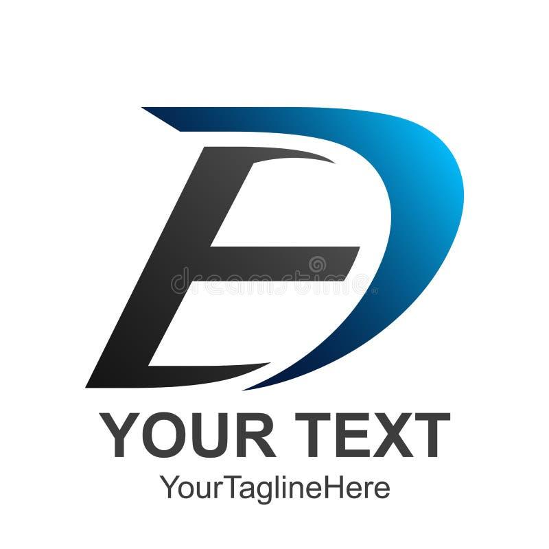 Buchstabe Logo Design ED E D in den blauen und schwarzen Farben Kreativer Umb. lizenzfreie abbildung