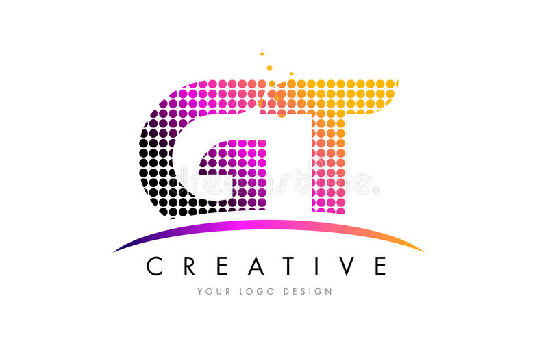 Buchstabe Logo Design GT G T mit magentaroten Punkten und Swoosh stock abbildung