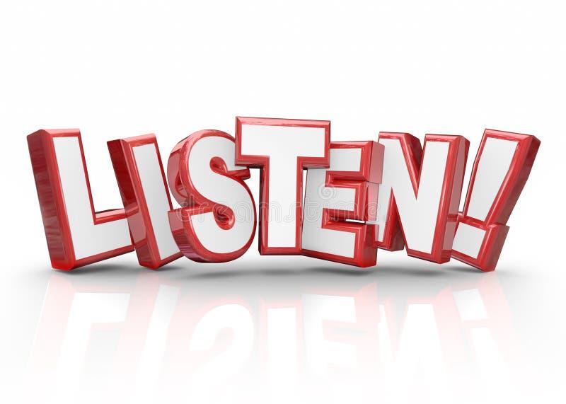 Buchstabe-Lohn-Aufmerksamkeits-wichtige Informationen hören des Wort-3d rote stock abbildung