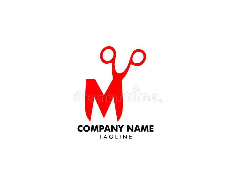 Buchstabe M With Scissor Logo Template Design vektor abbildung
