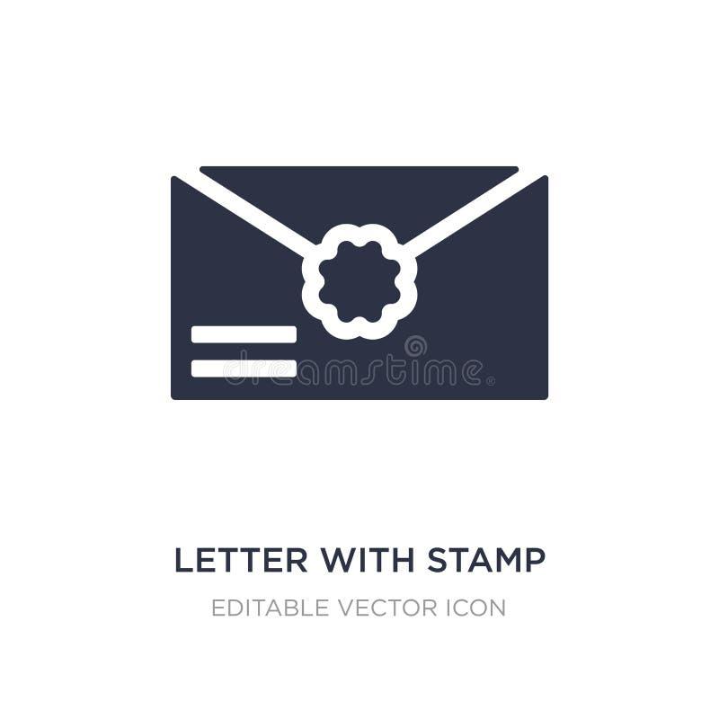 Buchstabe mit Stempelikone auf weißem Hintergrund Einfache Elementillustration vom Social Media, das Konzept vermarktet lizenzfreie abbildung