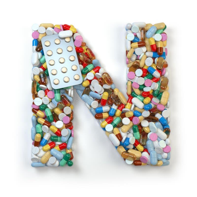 Buchstabe N Satz des Alphabetes der Medizinpillen, Kapseln, Tabletten vektor abbildung