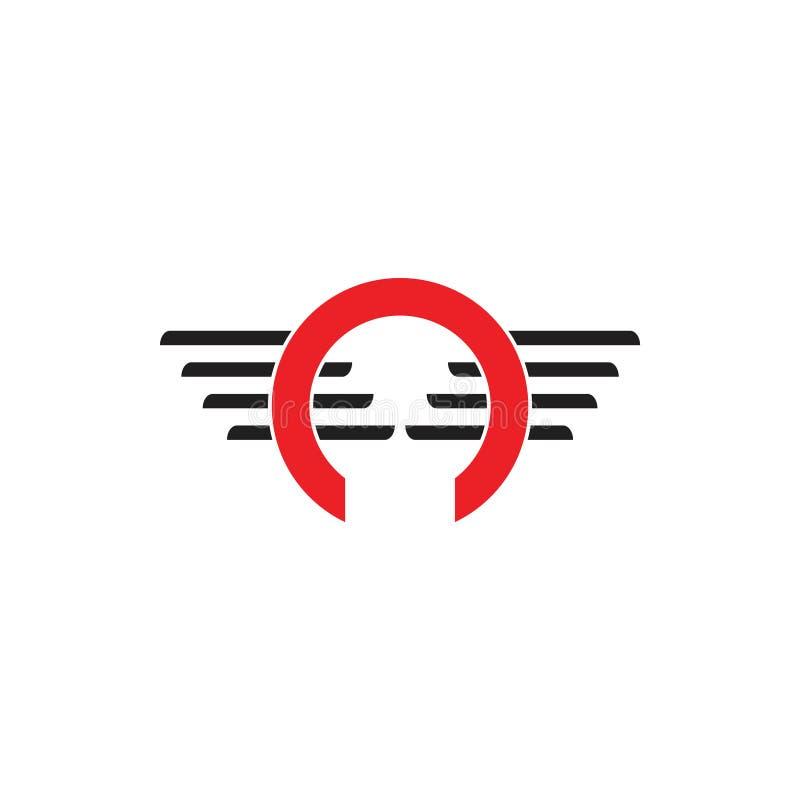 Buchstabe O beflügelt Logovektor lizenzfreie abbildung