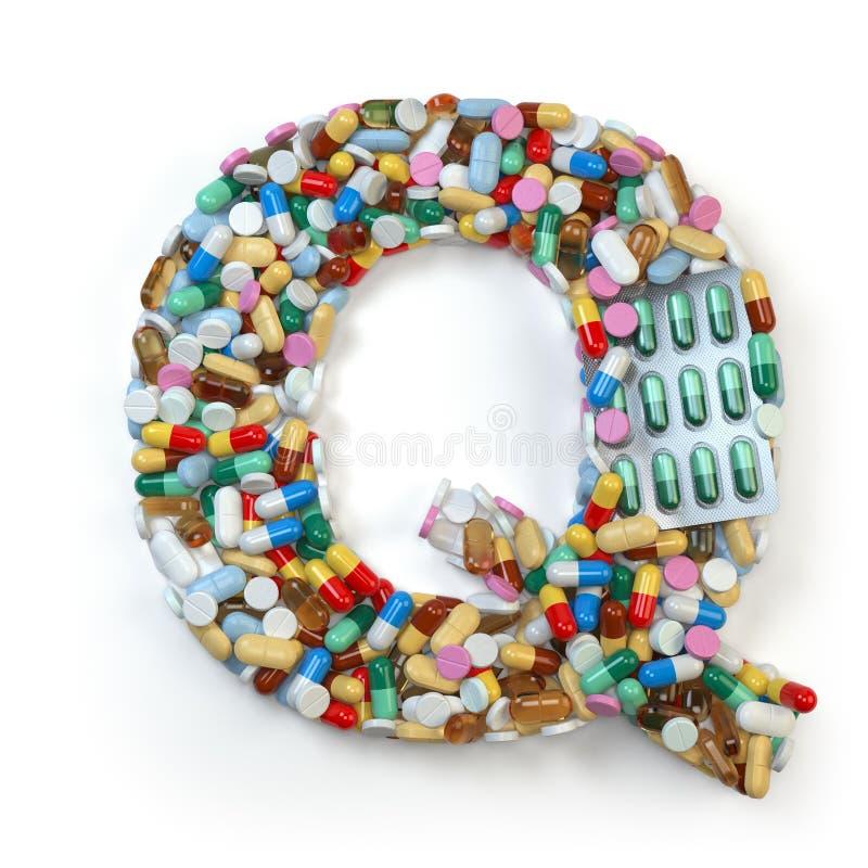 Buchstabe Q Satz des Alphabetes der Medizinpillen, Kapseln, Tabletten a stock abbildung