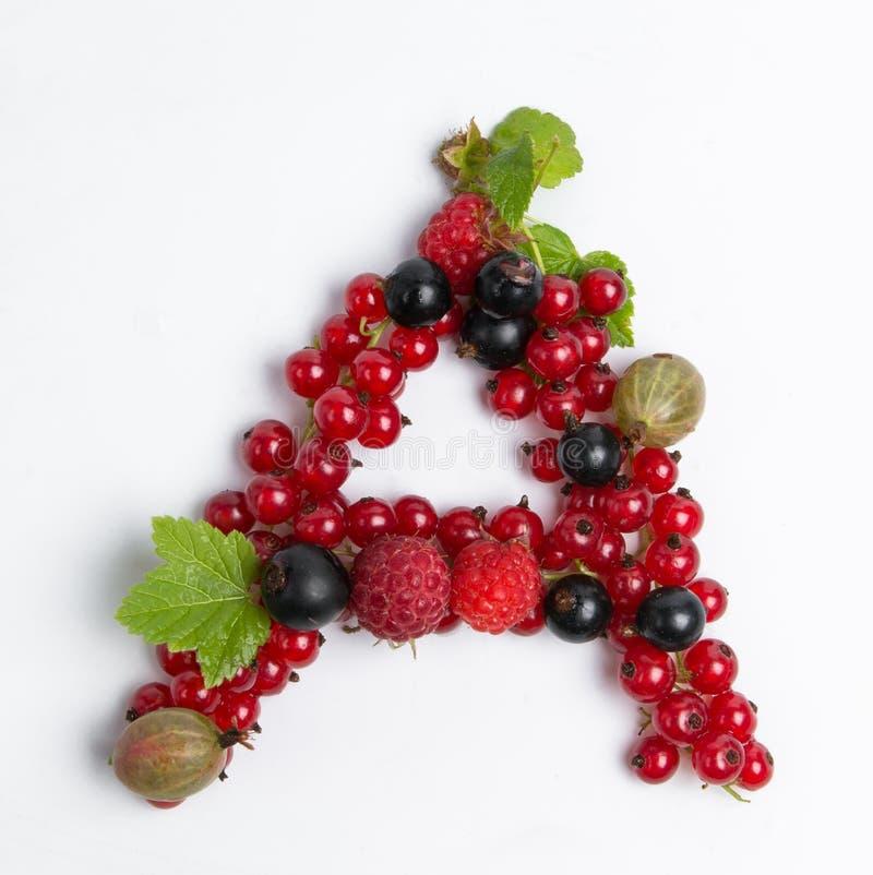 Buchstabe saftiger Frucht A lizenzfreies stockfoto