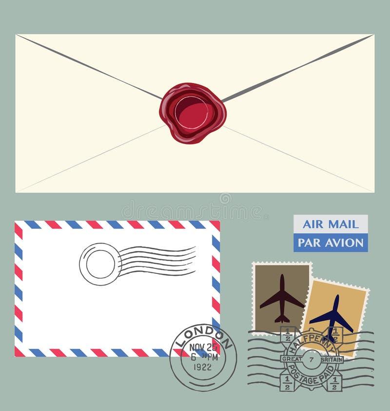 Buchstabe und Poststempel stock abbildung