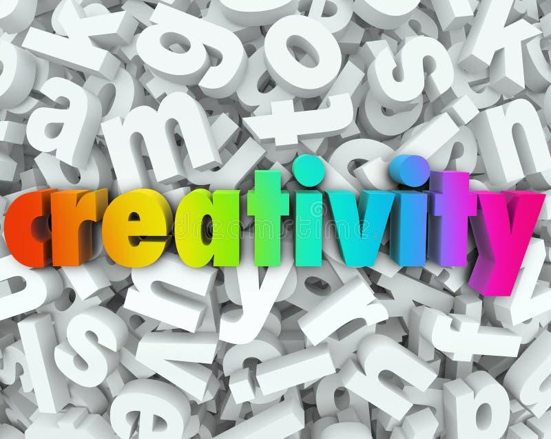 Buchstabe-Wort-Hintergrund kreatives Thinki der Kreativitäts-Fantasie-3d stock abbildung