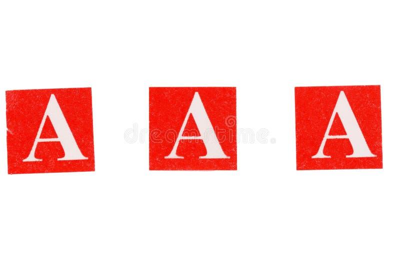 Buchstaben aaa drei A stockfoto