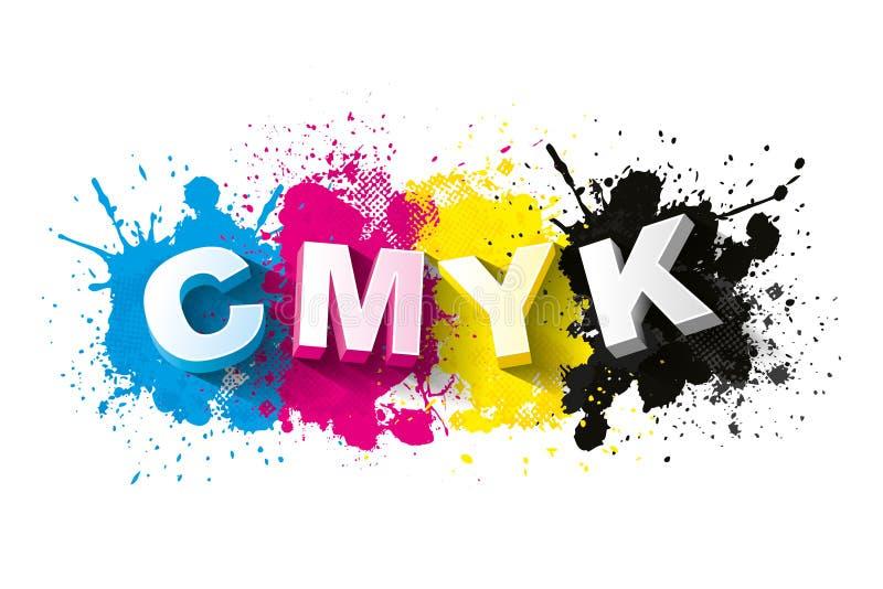 Buchstaben 3d CMYK mit Farbenspritzenhintergrund lizenzfreie abbildung