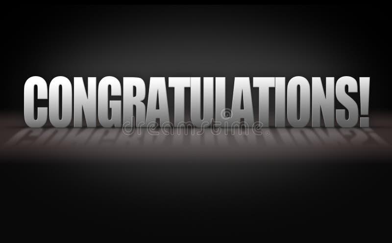 Buchstaben der Glückwunsch-3D auf schwarzem Hintergrund