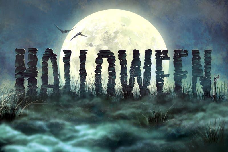 Buchstaben des Steins, Halloween stock abbildung