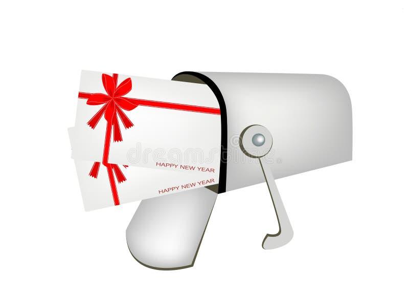 Buchstaben und roter Briefkasten lokalisiert auf weißem Backgrou vektor abbildung