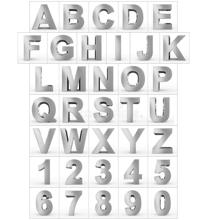 Buchstaben und Zahlen 3d versilbern lokalisiert auf Weiß vektor abbildung